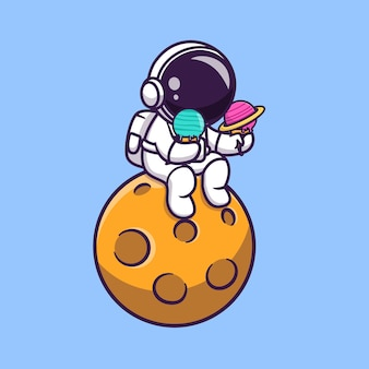 Lindo astronauta sosteniendo helado de planeta en la ilustración de vector de dibujos animados de planeta.