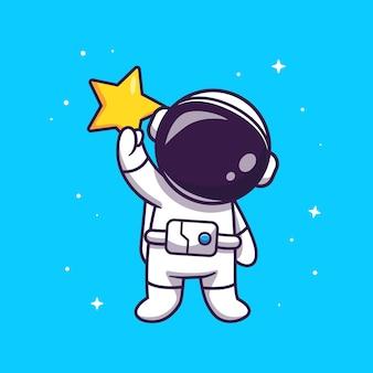 Lindo astronauta sosteniendo la ilustración de la estrella.