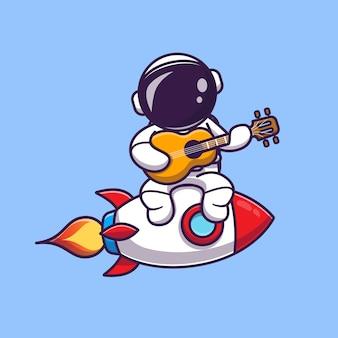 Lindo astronauta tocando la guitarra en la ilustración del icono de dibujos animados de cohetes. concepto de icono de música de ciencia
