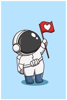 Lindo astronauta trae ilustración de dibujos animados de bandera