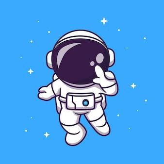 Lindo astronauta volando en la ilustración de icono de dibujos animados de espacio.