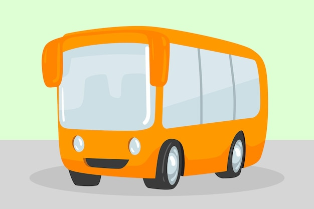 Lindo autobús escolar amarillo aislado. estilo de dibujos animados. ilustración vectorial.