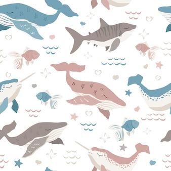 Lindo, ballenas, seamless, patrón