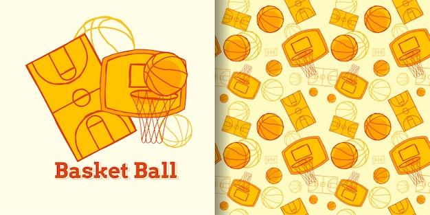 Lindo baloncesto sin patrón con ilustración