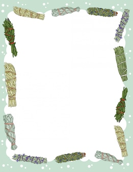 Lindo banner acogedor con elementos de palos de manchas de salvia. folleto de paquetes de hierbas indígenas boho. plantilla de estilo de dibujos animados lindo para agenda, planificadores, listas de verificación y otros artículos de papelería. espacio para texto