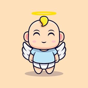 Lindo bebé ángel tiene alas aisladas en biege