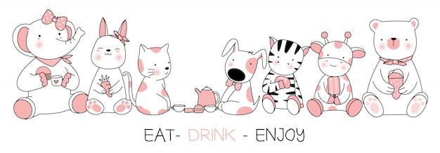 Lindo bebé animal con comer, beber, disfrutar, estilo dibujado a mano de dibujos animados
