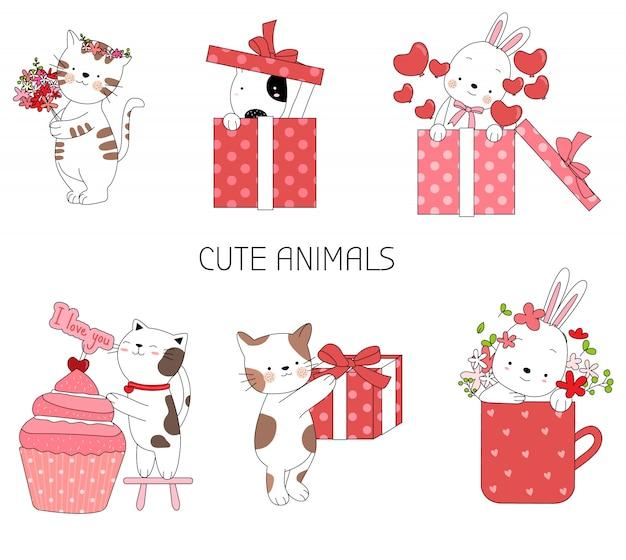 Lindo bebé animal estilo dibujado a mano de dibujos animados