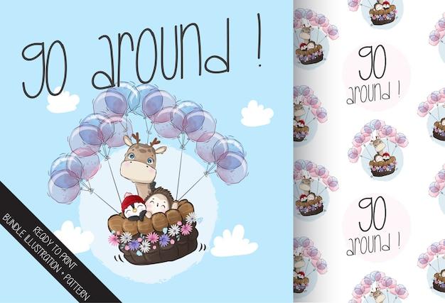 Lindo bebé animal feliz volando con globos de patrones sin fisuras. animal de dibujos animados lindo.