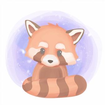 Lindo bebé animal panda rojo