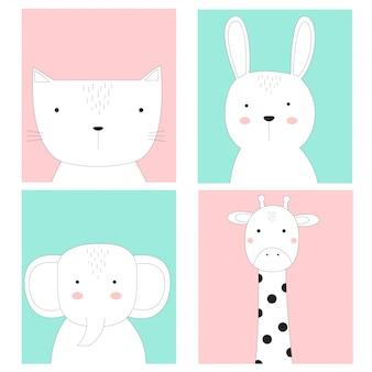 Lindo bebé animales tarjeta estilo dibujado a mano.