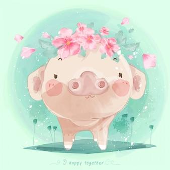 Lindo bebé cerdo dibujado a mano en dulce estilo acuarela de patrones sin fisuras.