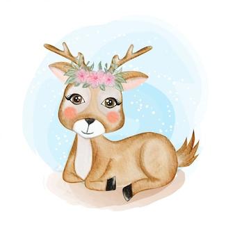 Lindo bebé ciervo con corona de flores ilustración acuarela