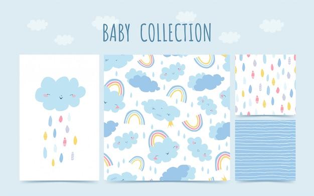 Lindo bebé colección de patrones sin fisuras con arco iris, nubes, lluvia para bebés. fondo en estilo dibujado a mano para el diseño de la habitación infantil. ilustración