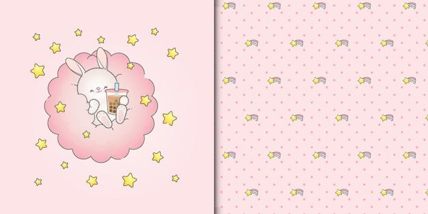 Lindo bebé conejito bebiendo batido en una nube rosa con estrellas de patrones sin fisuras