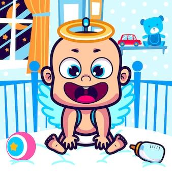 Lindo bebé en dibujos animados de traje de ángel