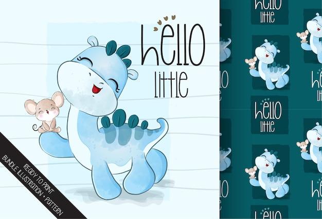 Lindo bebé dino con ilustración de ratón y patrones sin fisuras