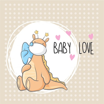 Lindo bebé dino con pequeña estrella