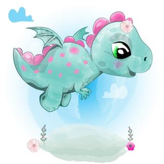 Lindo bebé dinosaurio está volando.