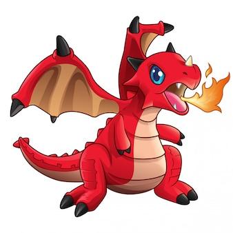 Lindo bebé dragón rojo escupir fuego vector