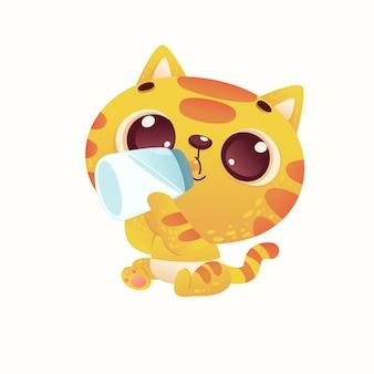 Lindo bebé ducha gato