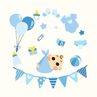 Lindo bebé ducha ilustración niño