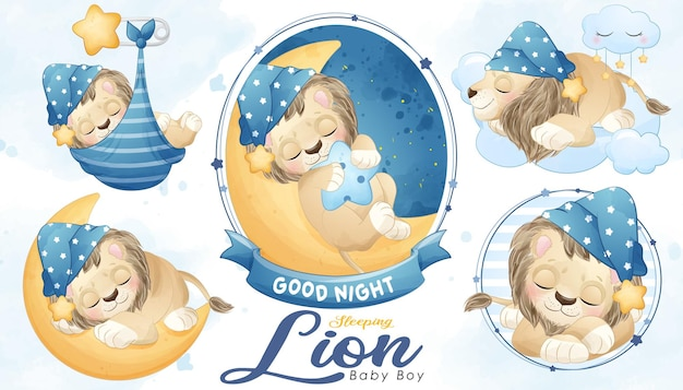 Lindo bebé ducha de león dormido con conjunto de ilustraciones de acuarela