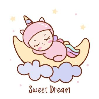 Lindo bebé duerme en la luna dulce serie de sueños