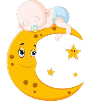 Lindo bebé durmiendo en la luna
