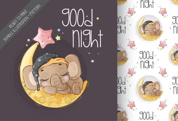 Lindo bebé elefante animal duerme en la luna de patrones sin fisuras