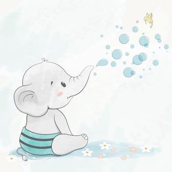 Lindo bebé elefante con burbujas de aire dibujado a mano de dibujos animados de color de agua