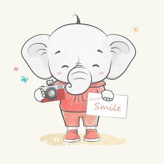 Lindo bebé elefante como fotógrafo dibujado a mano de dibujos animados de color de agua