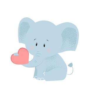 Lindo bebé elefante con corazón rojo en tronco