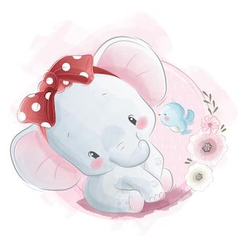 Lindo bebé elefante con diadema de lectura