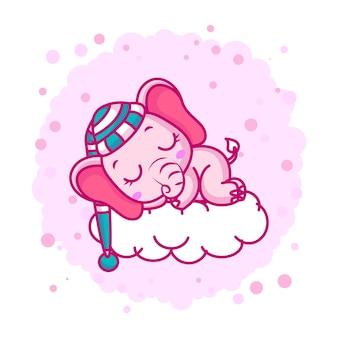 Lindo bebé elefante durmiendo en una nube