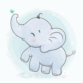 Lindo bebé elefante juega con dibujos animados de color de agua de mariposa dibujado a mano