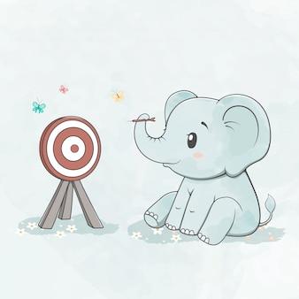 Lindo bebé elefante jugar dardos color de agua dibujos animados dibujados a mano