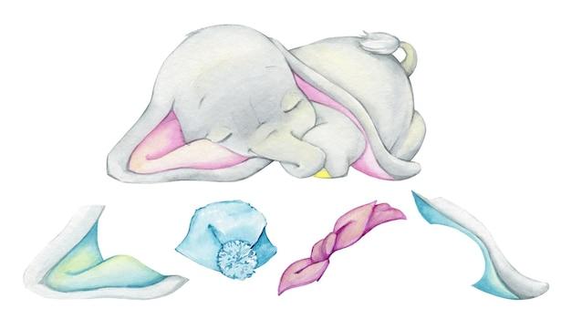 Lindo bebé elefante, orejas, lazo, sombrero. conjunto de acuarela, diseñador, sobre un fondo aislado, para crear, ilustrar.