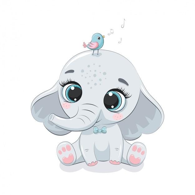 Lindo bebé elefante con pájaro. ilustración para baby shower, tarjetas de felicitación, invitación de fiesta, impresión de camiseta de ropa de moda.