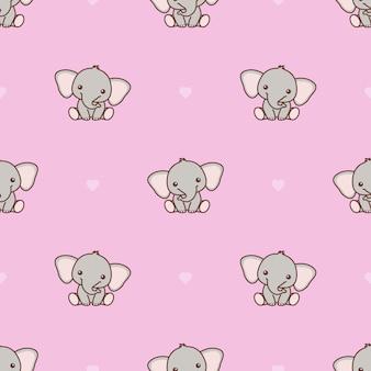 Lindo bebé elefante con patrones sin fisuras de corazón rosa