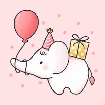 Lindo bebé elefante en un sombrero de fiesta de cumpleaños con globo y caja de regalo