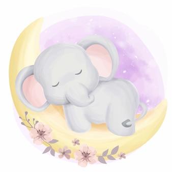 Lindo bebé elefante soñoliento en la luna