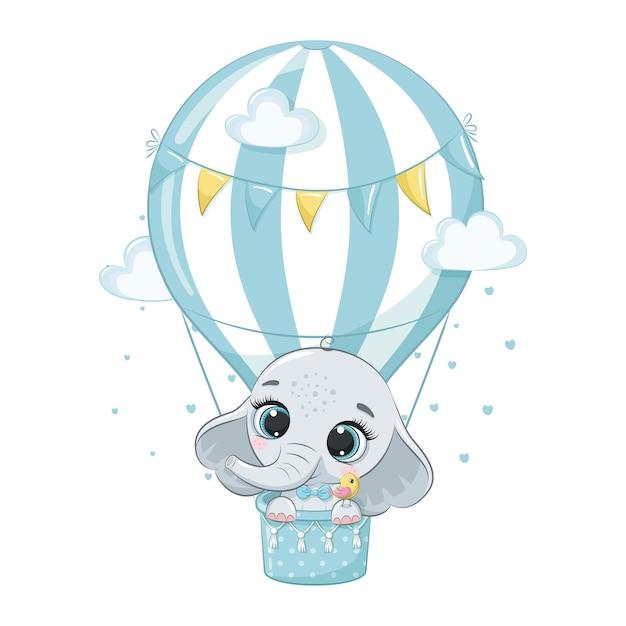 Lindo bebé elefante volando en una ilustración de dibujos animados de globo de aire caliente