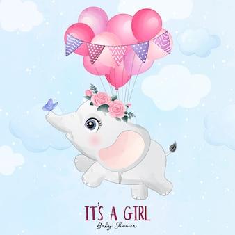 Lindo bebé elefante volando con ilustración de globo