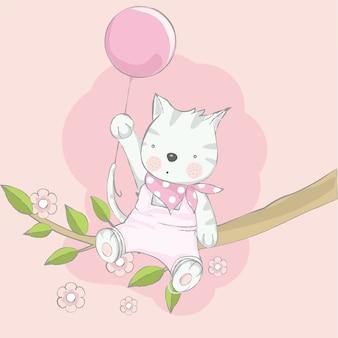 Lindo bebé gato con árbol de dibujos animados estilo dibujado a mano
