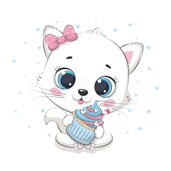 Lindo bebé gato con cupcake. ilustración para baby shower, tarjeta de felicitación, invitación de fiesta, impresión de camiseta de ropa de moda.