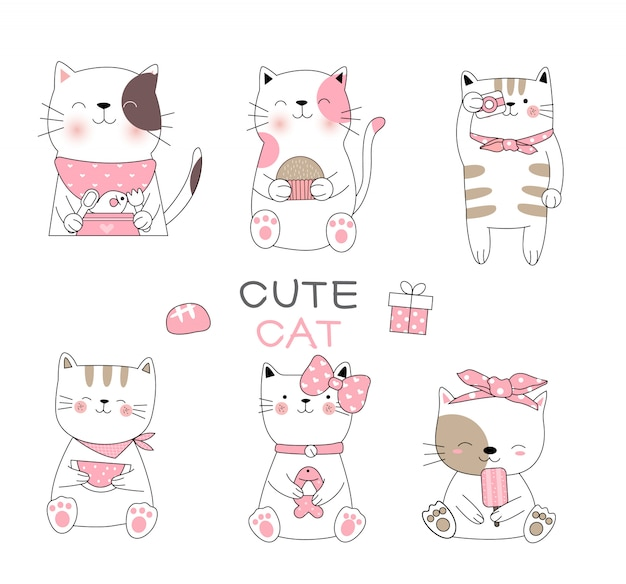 Lindo bebé gato dibujos animados estilo dibujado a mano