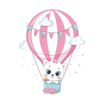 Lindo bebé gato en un globo de aire caliente. ilustración para baby shower, tarjetas de felicitación, invitación de fiesta, impresión de camiseta de ropa de moda.