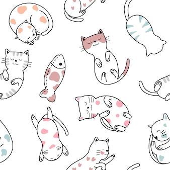 Lindo bebé gato de patrones sin fisuras