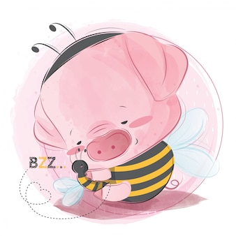 Lindo bebé guarro sosteniendo la abeja amiga